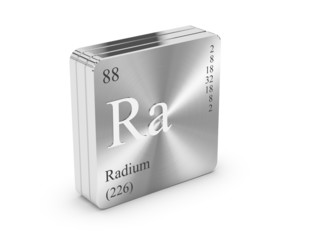 Radium - element of the periodic table on metal steel block
