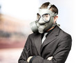 business man with mask