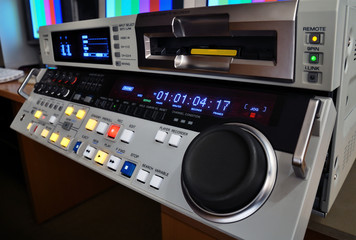 professional video recorder in production studio