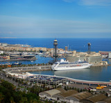 Barcelona and port Port Vell from natural park Montjuic, Spain poster