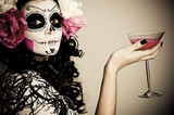 Halloween Living Dead Woman Having a Drink - 38368740