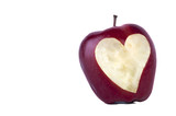 apple with a carved heart.