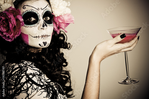 Halloween Living Dead Woman Having a Drink