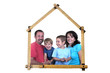 family forms meter stick into a house shape