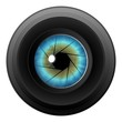 Camera Lens & Blue Eye Eyeball Diaphram Shutter