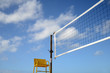 Sport Image Of A Volleyball Net On A Beach With A Referees Chair