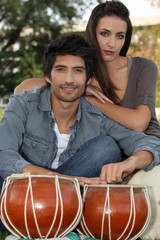 couple with djembe