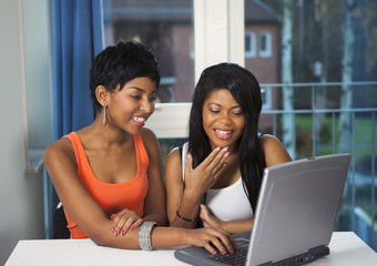 Girls socializing or chatting on internet having fun