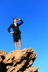 Business woman looking from mountain top