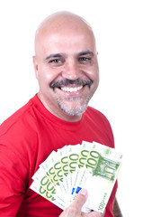 smiling man with 100 euro