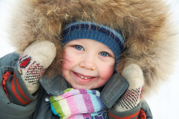 adorable boy in winter