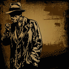 man in hat and retro scratch background