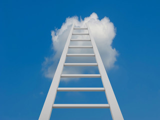 White ladder leading to a clouds