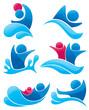 vector collection of aqua park and swimming symbols