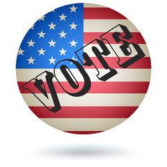US Presidential Vote Button. Vector