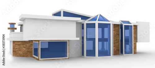 3d house on white