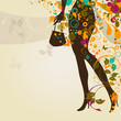 decorative composition with girl`s legs and bag