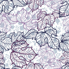 seamless pattern with  hand drawn leaves and flowers
