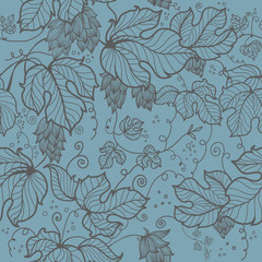 seamless pattern with  hand drawn leaves  of hop