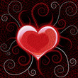 Red glossy heart on vector background