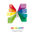 Logo rainbow high city # Vector