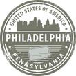 Stamp with name of Pennsylvania, Philadelphia, vector