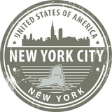 Grunge stamp with name of New York, New York City