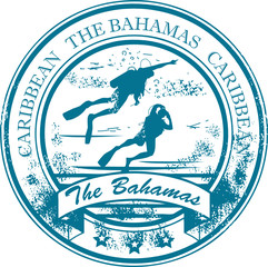 Stamp with The Bahamas, Caribbean inside, vector