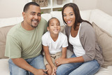 Fototapety Happy African American Mother Father and Son Family