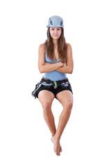 climbing woman sitting a banner