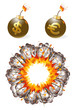Set of ignited bombs with currency symbols and explosion