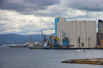 Silos in the port of Stavanger, Norway.