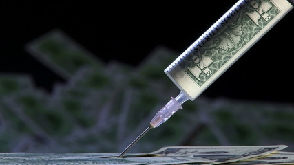 Money in the syringe, money fall