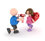 Boy and girl valentine's day concept isolated