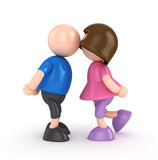 Boy and girl valentine's day concept isolated 3d rendered
