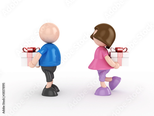 Boy and girl giving gift- valentine's day concept isolated