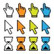 Symbole, Icon, Betriebssystem, Hand, Pfeil, Sanduhr, Zeit, Uhr