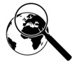 Suchen, Symbol, Lupe, Erde, Weltkugel, Linse, Europa, Analyse