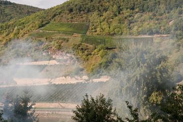 Smoke from train drifting up Rhine Valley