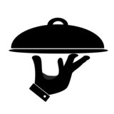 Fototapety Silhouette of hand holding serving tray