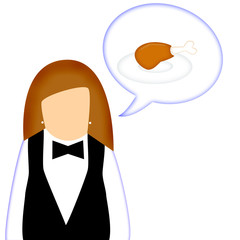 Waitress giving a suggestion for fresh chicken drumstick