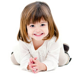 Portrait of cute little girl isolated on white