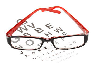 Reading glasses with eye chart