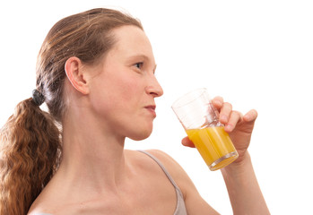 woman taste orange juice