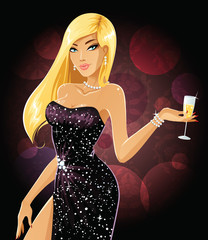 Beautiful girl in evening gown holding glass of champagne