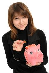 girl with a piggybank