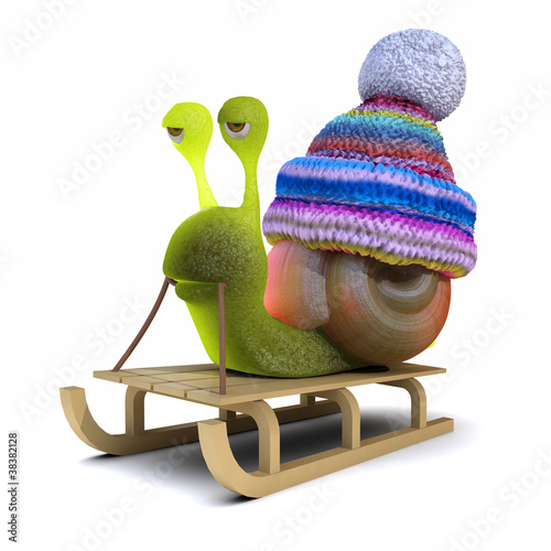 3d Snail goes out on his toboggan
