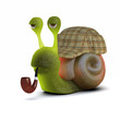 3d Snail dressed as Sherlock Holmes