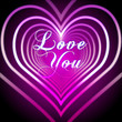 shining pink hearts with love you