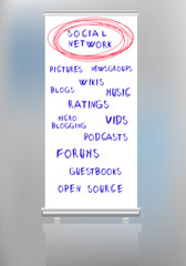 social network mind map on a rollup display, vector illustration